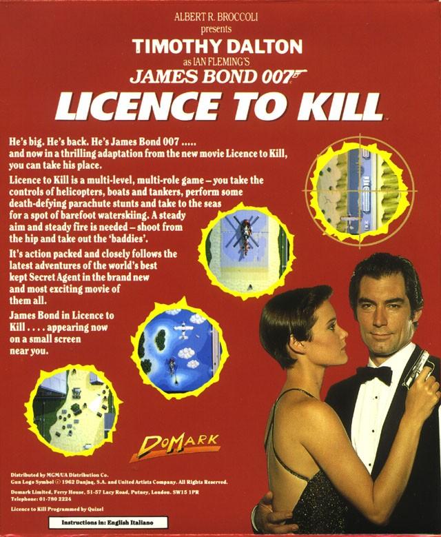 Face arriere du boxart du jeu 007 - Licence to Kill (Europe) sur Atari ST
