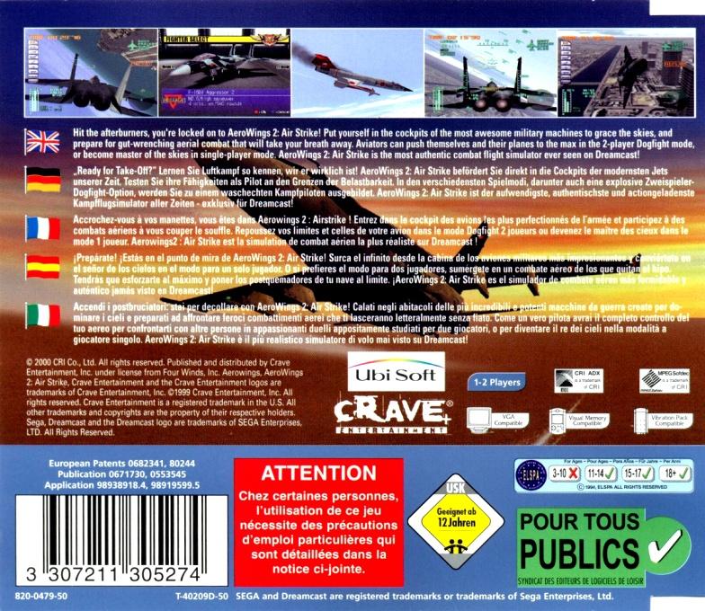 Face arriere du boxart du jeu AeroWings 2 - Airstrike (Europe) sur Sega Dreamcast