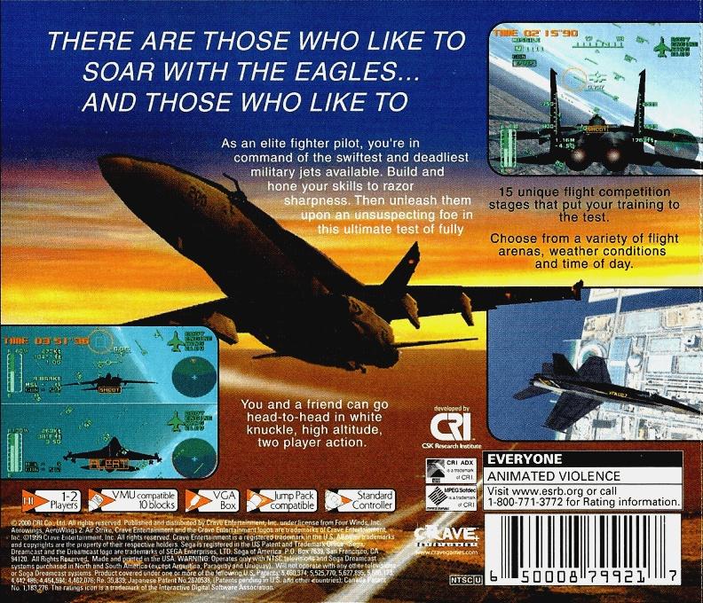 Face arriere du boxart du jeu AeroWings 2 - Airstrike (Etats-Unis) sur Sega Dreamcast