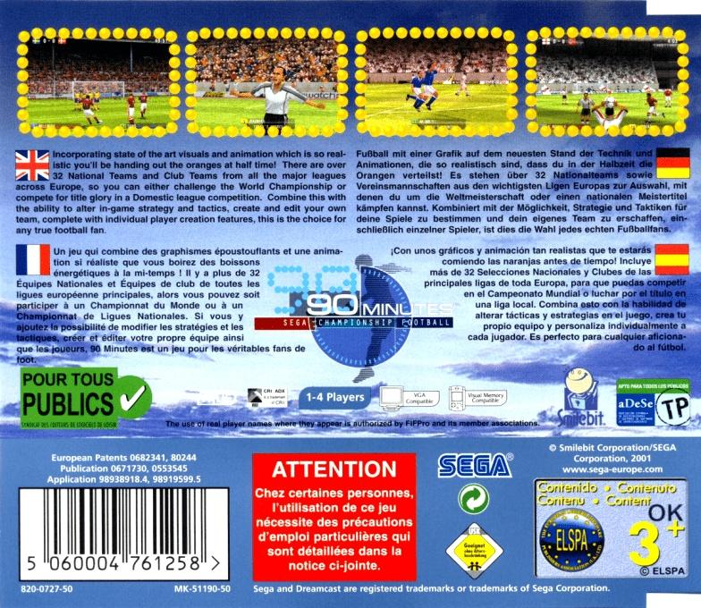 Face arriere du boxart du jeu 90 Minutes - Sega Championship Football (Europe) sur Sega Dreamcast