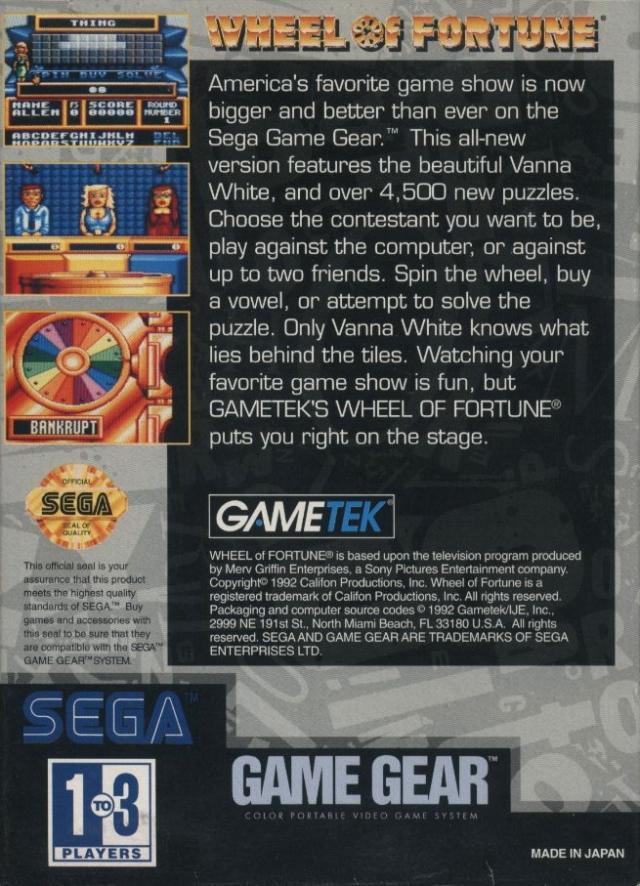 Face arriere du boxart du jeu Wheel of Fortune (Etats-Unis) sur Sega Game Gear