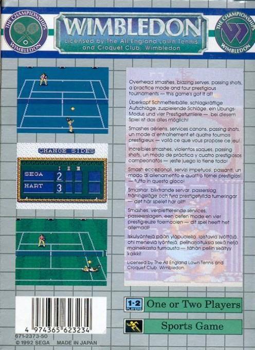 Face arriere du boxart du jeu Wimbledon (Europe) sur Sega Game Gear