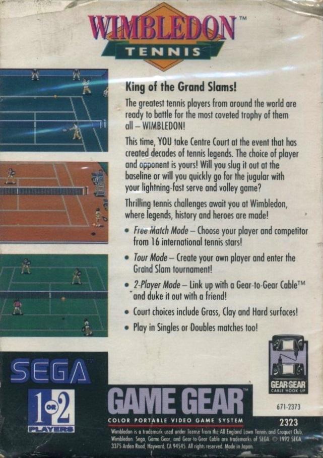 Face arriere du boxart du jeu Wimbledon (Etats-Unis) sur Sega Game Gear