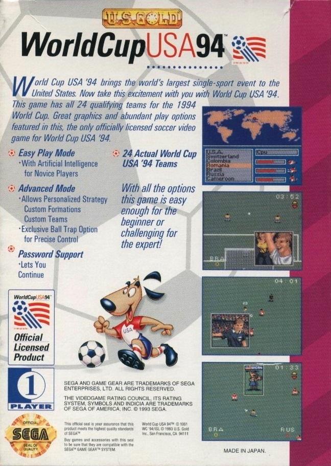Face arriere du boxart du jeu World Cup 94 (Etats-Unis) sur Sega Game Gear