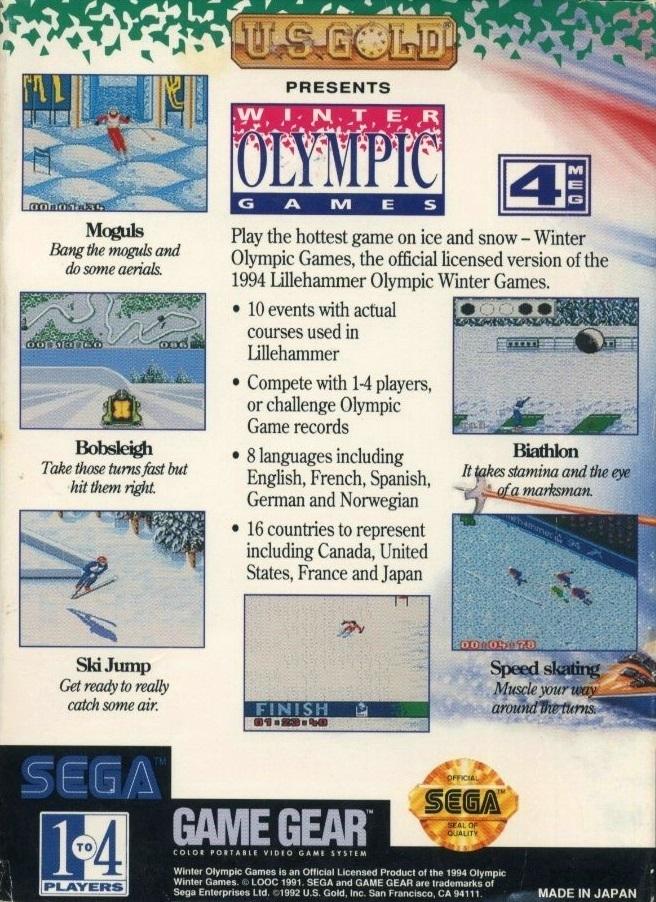 Face arriere du boxart du jeu Winter Olympics - Lillehammer '94 (Etats-Unis) sur Sega Game Gear