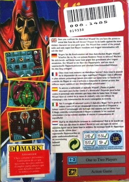 Face arriere du boxart du jeu Wizard Pinball (Europe) sur Sega Game Gear