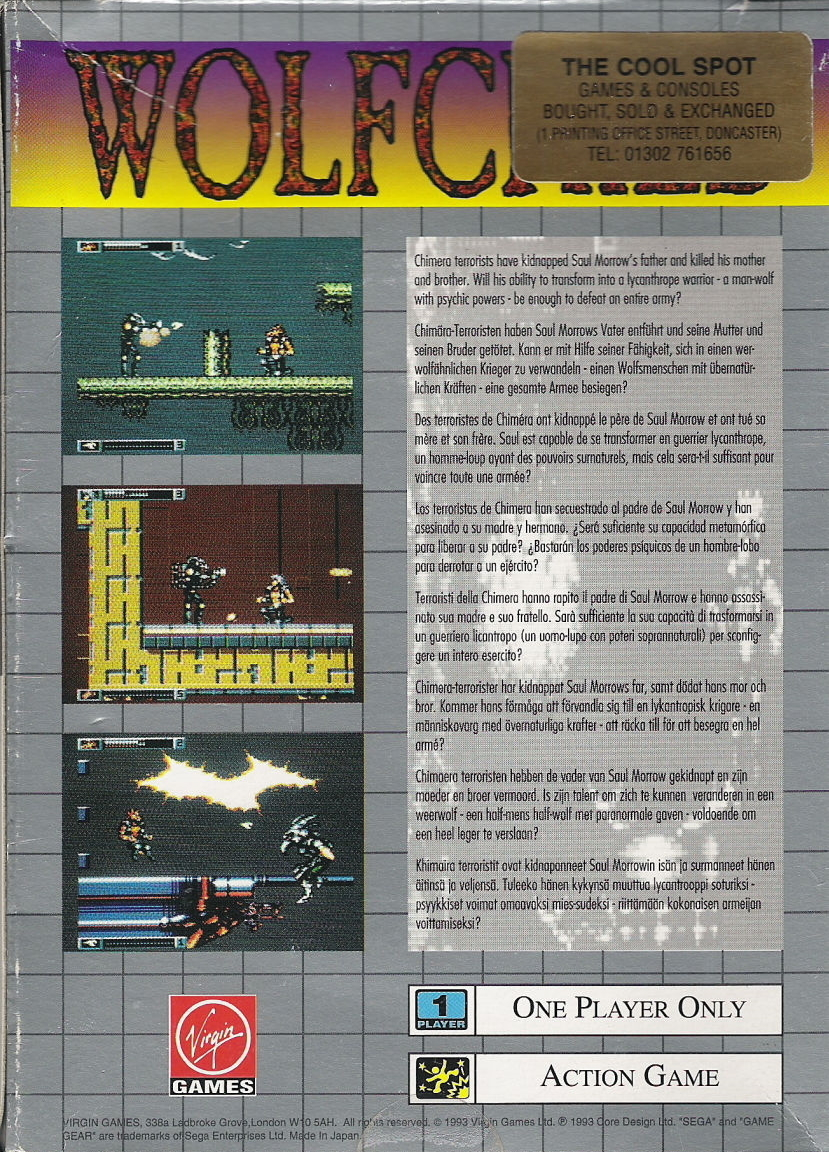 Face arriere du boxart du jeu Wolfchild (Europe) sur Sega Game Gear