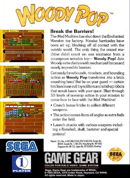 Face arriere du boxart du jeu Woody Pop (Etats-Unis) sur Sega Game Gear