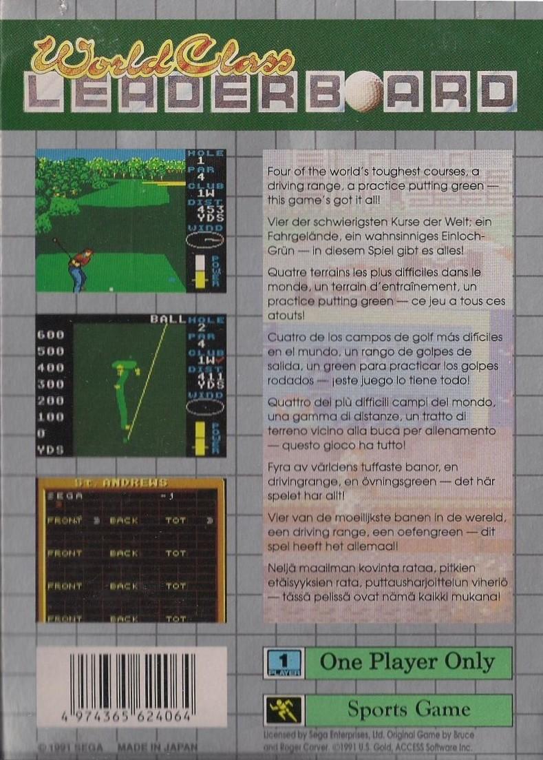 Face arriere du boxart du jeu World Class Leader Golf (Europe) sur Sega Game Gear