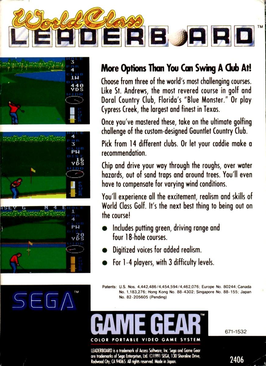 Face arriere du boxart du jeu World Class Leader Golf (Etats-Unis) sur Sega Game Gear