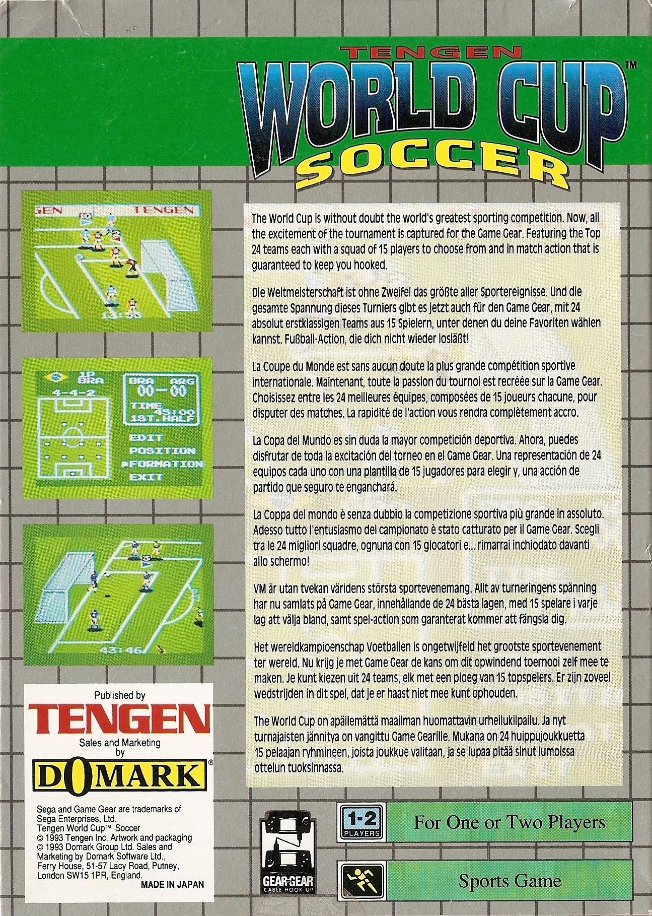 Face arriere du boxart du jeu World Cup Soccer (Europe) sur Sega Game Gear