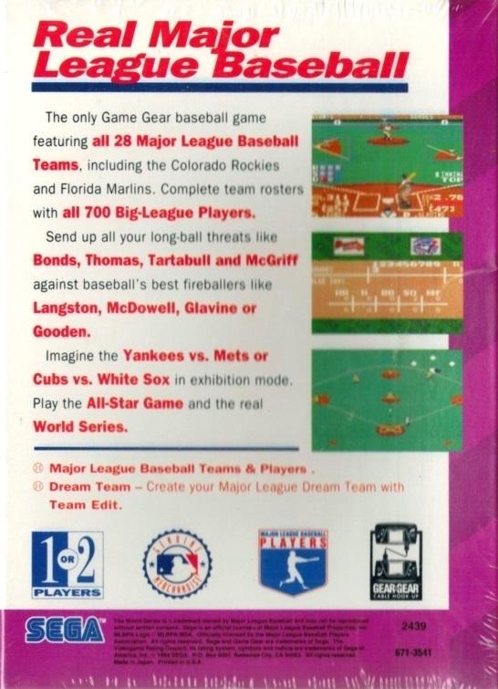 Face arriere du boxart du jeu World Series Baseball (Etats-Unis) sur Sega Game Gear