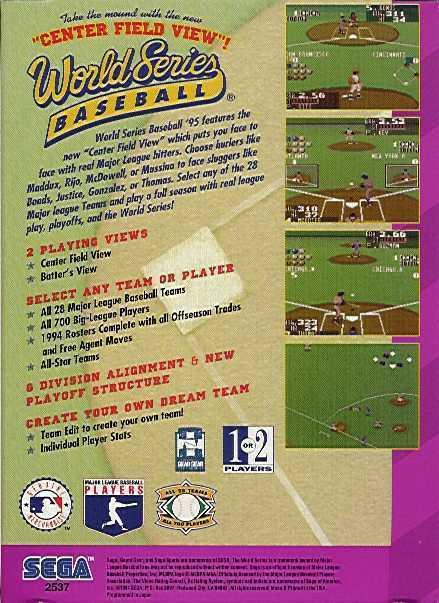 Face arriere du boxart du jeu World Series Baseball '95 (Etats-Unis) sur Sega Game Gear