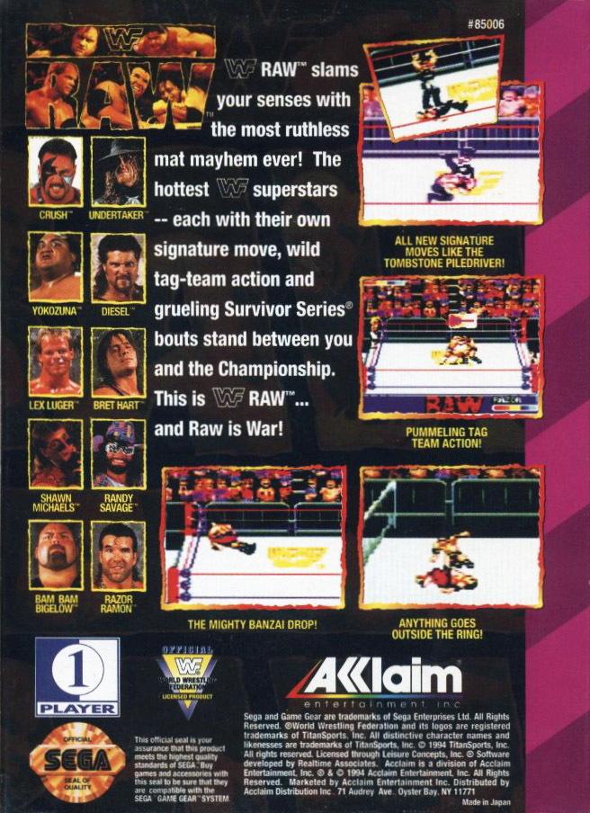 Face arriere du boxart du jeu WWF Raw (Etats-Unis) sur Sega Game Gear