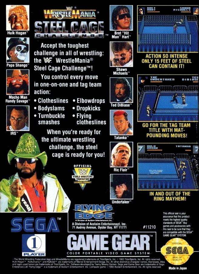 Face arriere du boxart du jeu WWF Steel Cage Challenge (Etats-Unis) sur Sega Game Gear