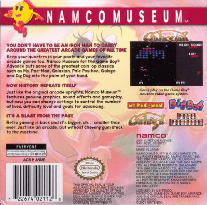 Face arriere du boxart du jeu Namco Museum (Etats-Unis) sur Nintendo GameBoy Advance