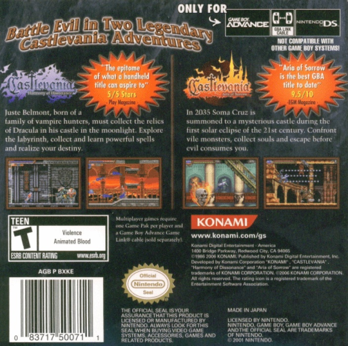 Face arriere du boxart du jeu 2-in-1 - Castlevania Double Pack - Harmony of Dissonance & Aria of Sorrow (Etats-Unis) sur Nintendo GameBoy Advance