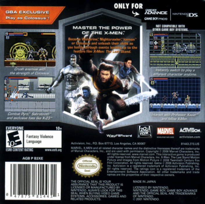 Face arriere du boxart du jeu X-Men - The Official Game (Etats-Unis) sur Nintendo GameBoy Advance