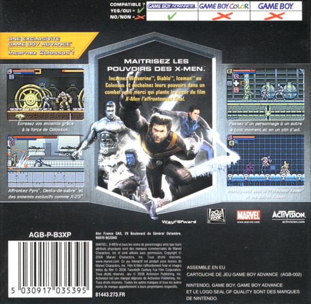 Face arriere du boxart du jeu X-Men - Le Jeu Officiel (France) sur Nintendo GameBoy Advance