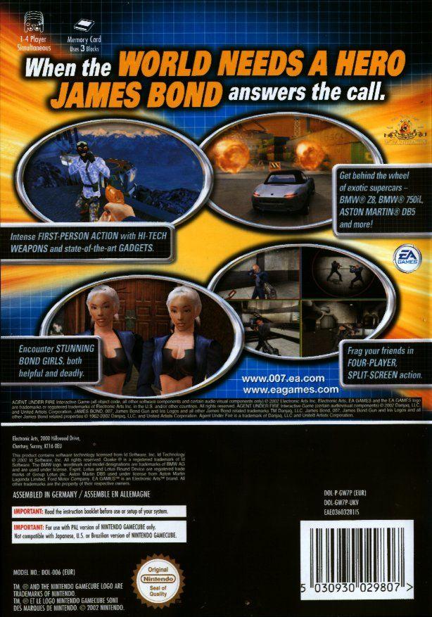 Face arriere du boxart du jeu 007 - Agent Under Fire (Europe) sur Nintendo GameCube