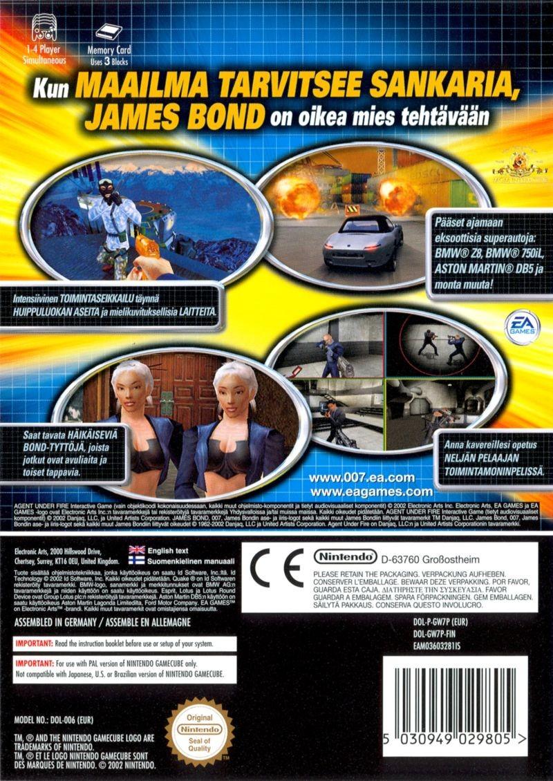 Face arriere du boxart du jeu 007 - Agent Under Fire (Suède) sur Nintendo GameCube