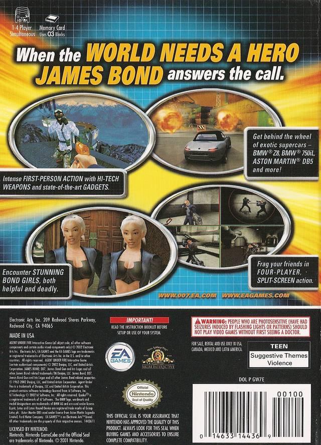 Face arriere du boxart du jeu 007 - Agent Under Fire (Etats-Unis) sur Nintendo GameCube