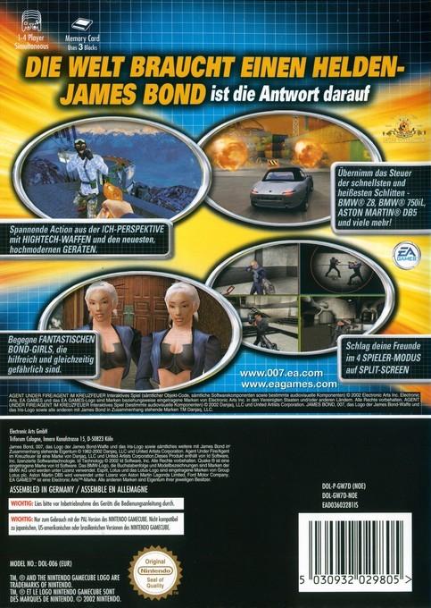 Face arriere du boxart du jeu 007 - Agent im Kreuzfeuer (Allemagne) sur Nintendo GameCube