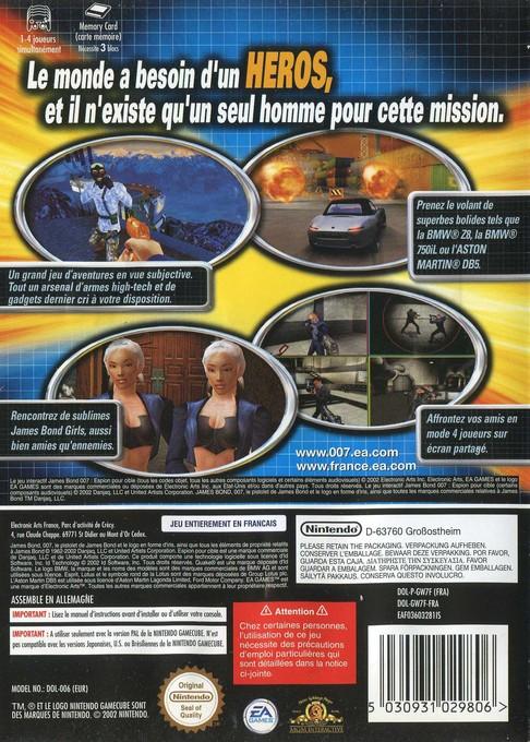 Face arriere du boxart du jeu 007 - Espion pour Cible (France) sur Nintendo GameCube
