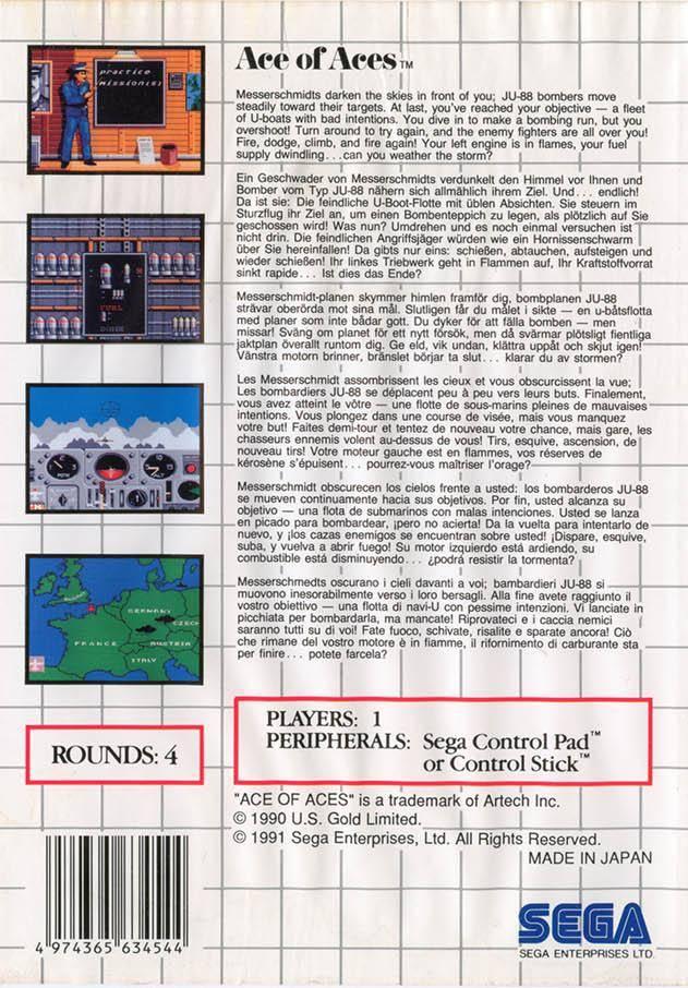 Face arriere du boxart du jeu Ace of Aces (Europe) sur Sega Master System
