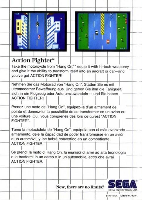Face arriere du boxart du jeu Action Fighter (Europe) sur Sega Master System