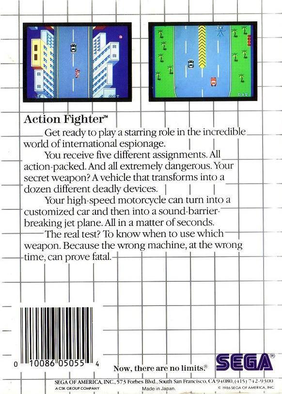 Face arriere du boxart du jeu Action Fighter (Etats-Unis) sur Sega Master System