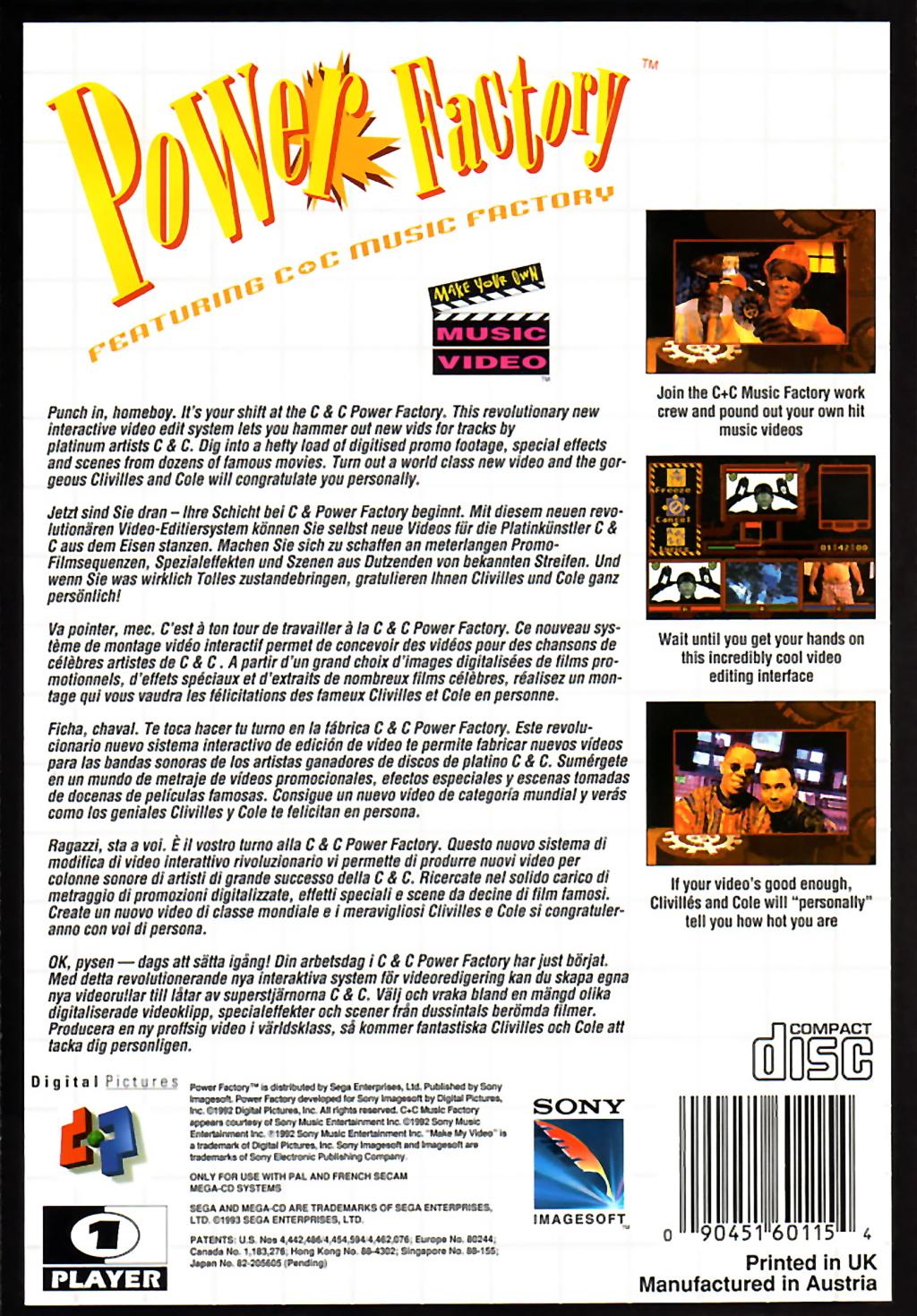 Face arriere du boxart du jeu Power Factory Featuring C+C Music Factory (Europe) sur Sega Mega CD