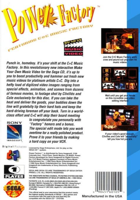 Face arriere du boxart du jeu Power Factory Featuring C+C Music Factory (Etats-Unis) sur Sega Mega CD