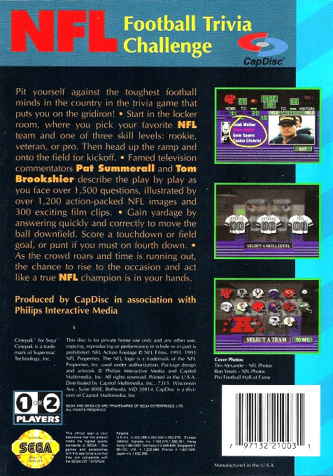 Face arriere du boxart du jeu NFL Football Trivia Challenge (Etats-Unis) sur Sega Mega CD