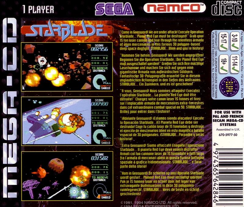 Face arriere du boxart du jeu Starblade (Europe) sur Sega Mega CD