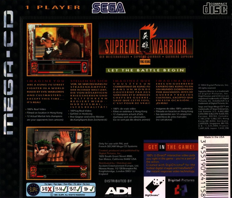 Face arriere du boxart du jeu Supreme Warrior (Europe) sur Sega Mega CD