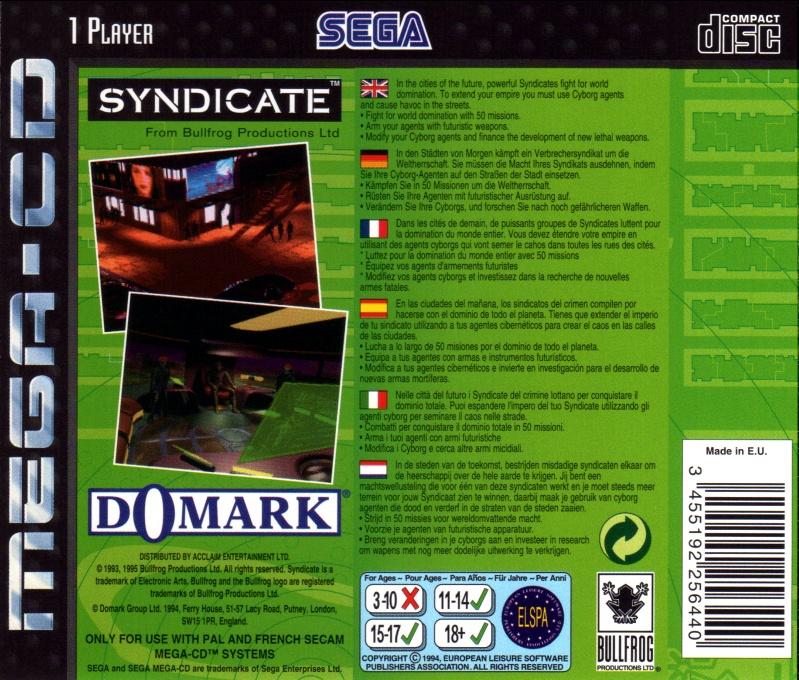 Face arriere du boxart du jeu Syndicate (Europe) sur Sega Mega CD