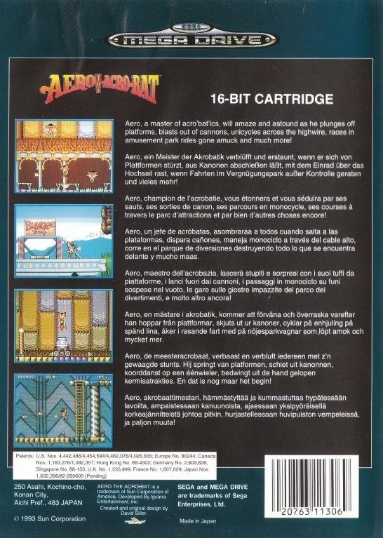 Face arriere du boxart du jeu Aero the Acro-Bat (Europe) sur Sega Megadrive