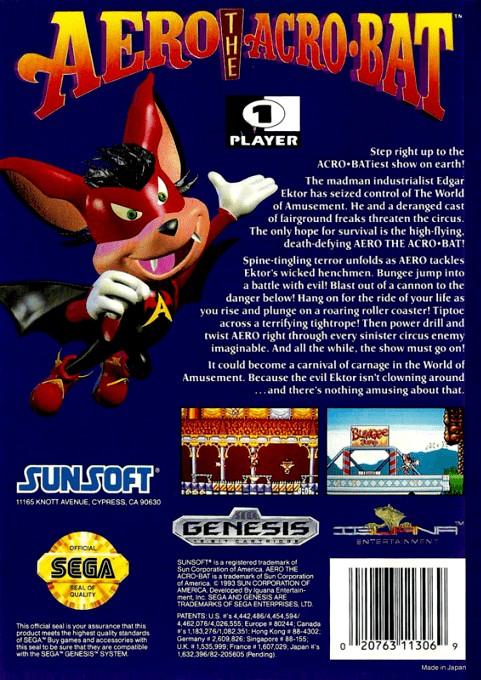 Face arriere du boxart du jeu Aero the Acro-Bat (Etats-Unis) sur Sega Megadrive
