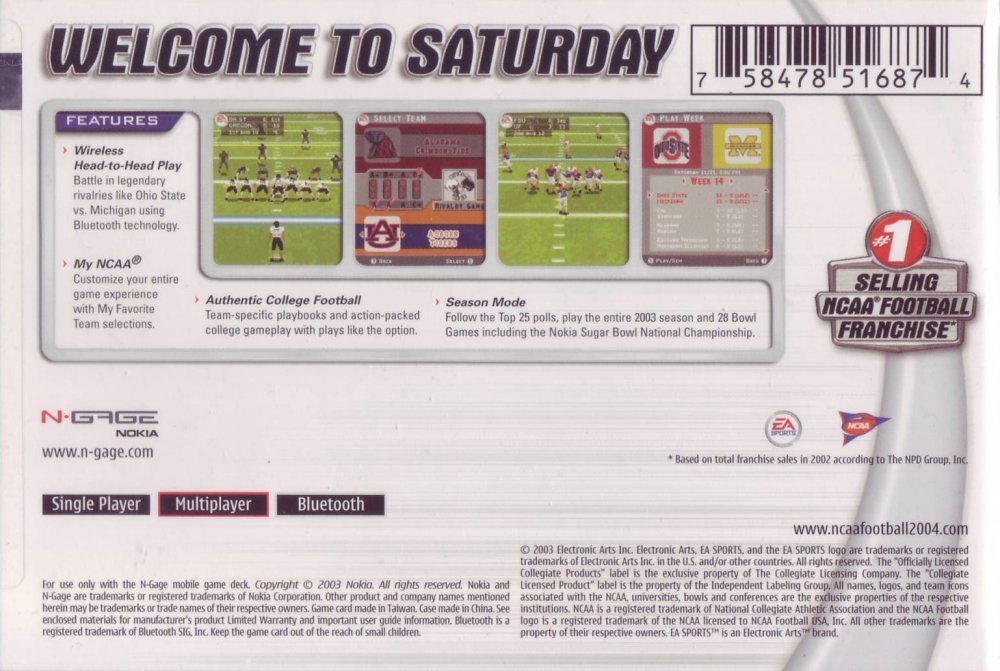 Face arriere du boxart du jeu NCAA Football 2004 (Etats-Unis) sur Nokia N-Gage