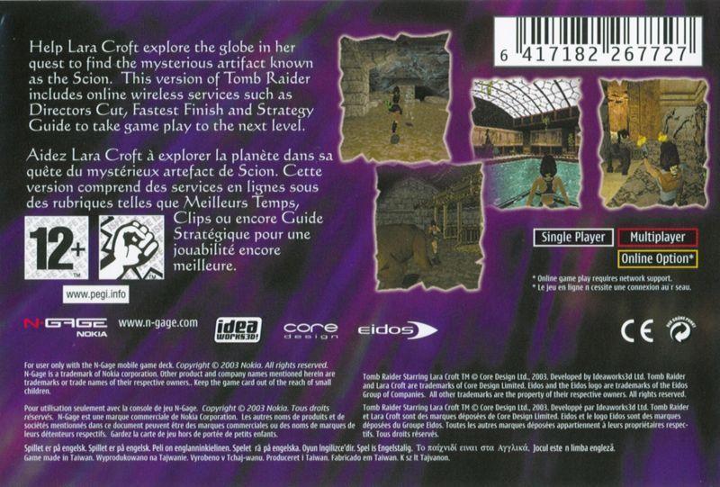 Face arriere du boxart du jeu Tomb Raider (Europe) sur Nokia N-Gage