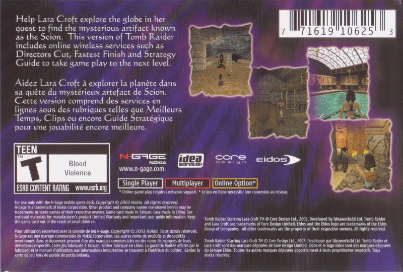 Face arriere du boxart du jeu Tomb Raider (Etats-Unis) sur Nokia N-Gage