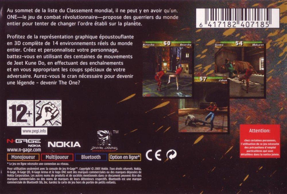 Face arriere du boxart du jeu One (Europe) sur Nokia N-Gage