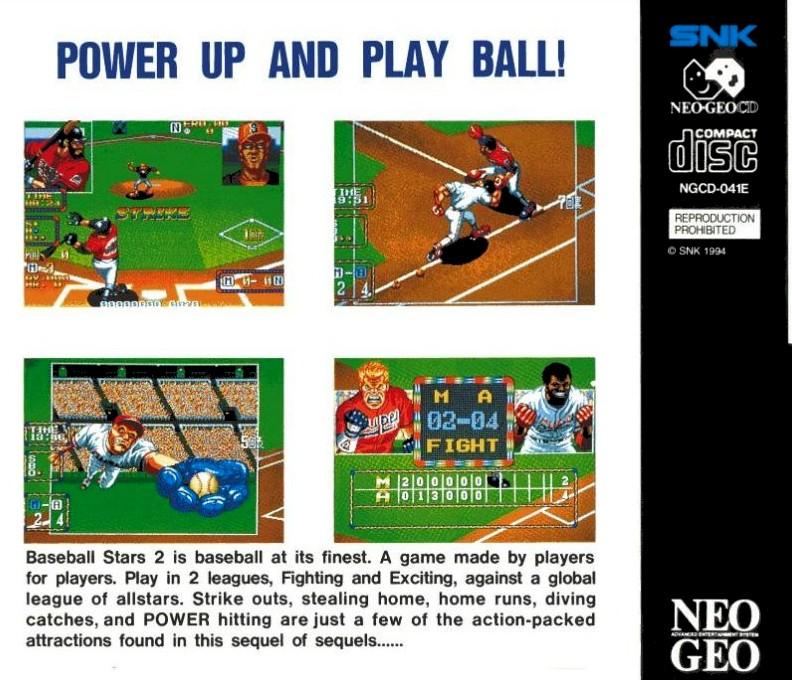 Face arriere du boxart du jeu Baseball Stars 2 sur SNK NeoGeo CD