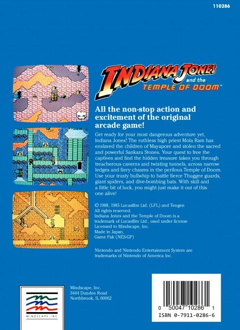 Face arriere du boxart du jeu Indiana Jones and the Temple of Doom (Etats-Unis) sur Nintendo NES