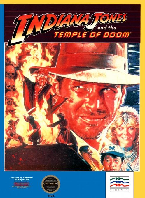 Face avant du boxart du jeu Indiana Jones and the Temple of Doom (Etats-Unis) sur Nintendo NES
