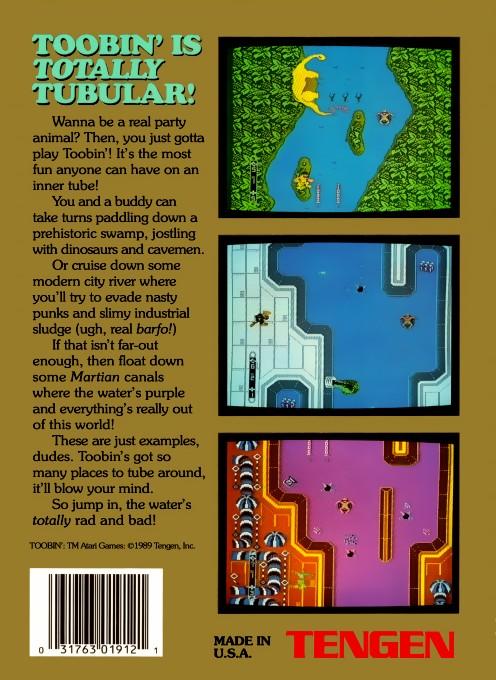 Face arriere du boxart du jeu Toobin' (Etats-Unis) sur Nintendo NES