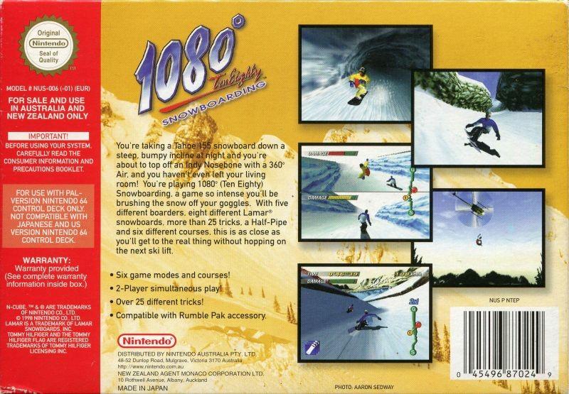 Face arriere du boxart du jeu 1080 Snowboarding (Australie) sur Nintendo 64