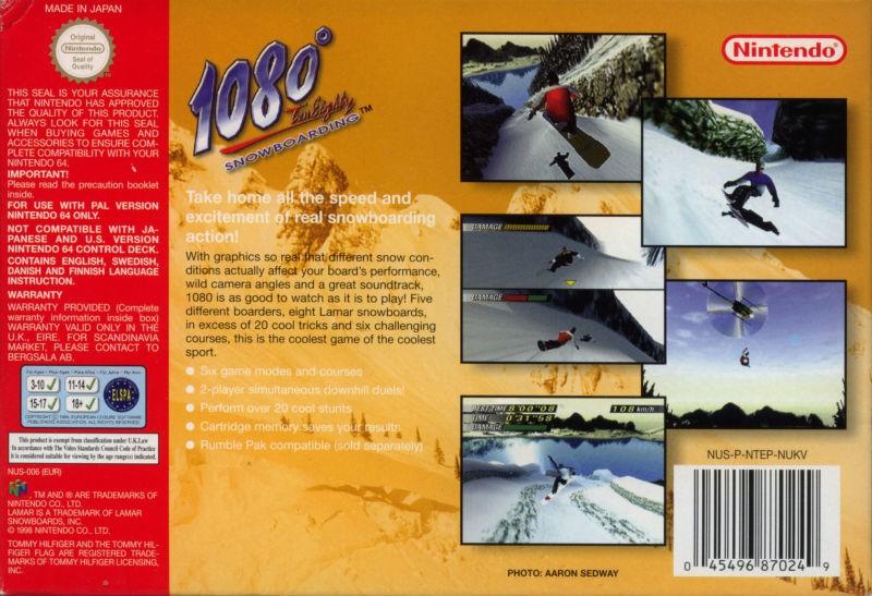 Face arriere du boxart du jeu 1080 Snowboarding (Europe) sur Nintendo 64