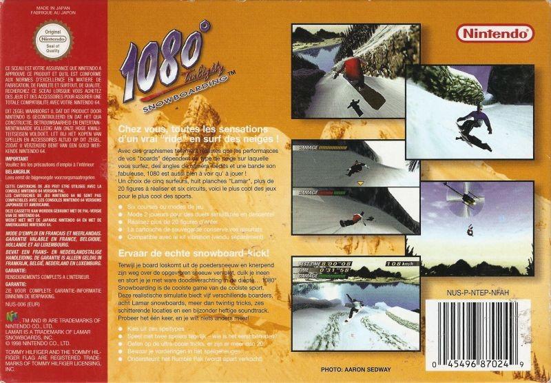 Face arriere du boxart du jeu 1080 Snowboarding (France) sur Nintendo 64